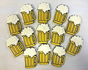 Beer Mug Cookies Favors for Birthday Parties, Beer Cookies for Bachelor Parties, Great Adult Party Favor Cookies, Tailgate Party Cookies