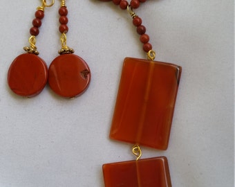 Red jasper and carnelian necklace set