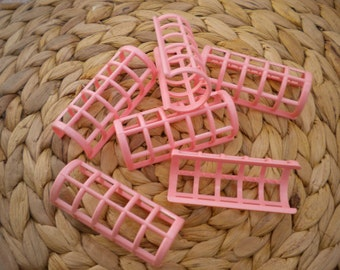 Set of 6 Vintage Pink-colored Hair Curler Snap Overs