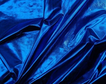 "Metallic Foil Spandex Fabric in Royal Stretch Lycra 58""/60"" Wide and Sold By The Yard 6029"