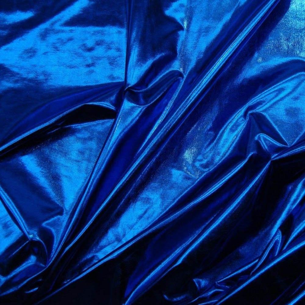 Metallic foil spandex fabric in royal stretch lycra for Lycra fabric