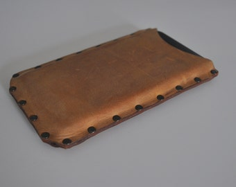 iPhone 4 case waxed genuine brown leather cover. Raw style sleeve riveted case pouch.One of a kind.