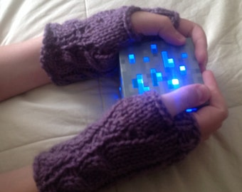 Morgana Mitts - Hand-Knit Fingerless Gloves with Cables in Dusty Purple