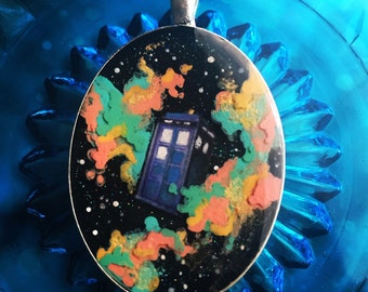Hand Painted Doctor Who TARDIS pendant with 3D Galaxy and stars