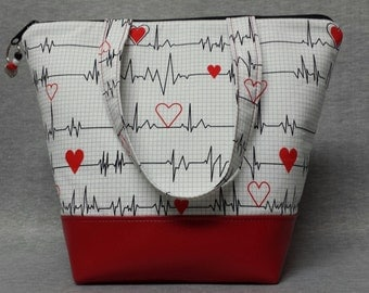 Nurses Insulated Lunch Bag, Vinyl Bottom, Nurse Lunch Box, Womens, Nursing Lunch Bag, EKG Theme Bag, Nylon Liner with Zipper Pocket.