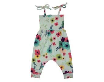 Baby Toddler Harem Romper in Blue Garden Print Girls
