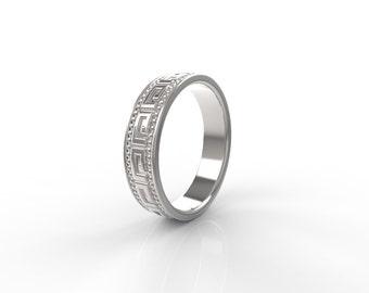 Greek styled wedding band , wedding band women white gold, wedding bands his and hers white gold