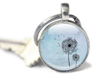 Dandelion Keyring, Key chain, Dandelion Keychain, Blue Textured background, dandelions in the wind, dandelion keyring, dandelion wish