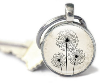 Dandelion Keyring, Key chain, Dandelion Keychain, Yellow background, dandelions in the wind, Yellow dandelion keyring, dandelion wish