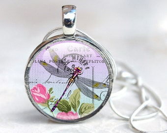 Dragonfly Jewelry - Insect pendant - Dragonfly Image Pendant - Dragonfly Necklace Glass Pendant (dragonfly 11)