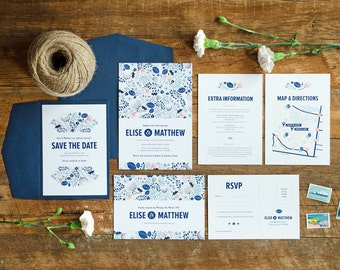 Wedding Stationery Suite Sample  | Custom Invitations  |  Botanical Pattern Design