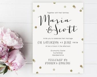 Maria Printed Wedding Invitation Sample. Confetti, Modern, Gold, Glitter, Black, Wedding Invitations by Printed Love Co.