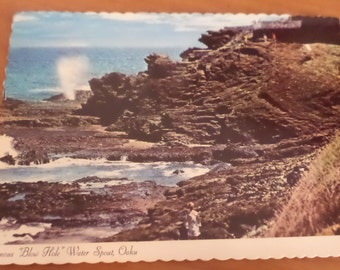 1973 Famous Blow Hole Water Spout Oahu Postcard Free Shipping