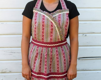 Women's Full Apron in a Rosewood and Green Floral Print with Rick Rack and Polka Dots in Pink & Red