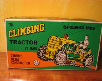 Marx #5 Sparklig Climbing Tractor w Driver Tin Wind-Up Toy With Box