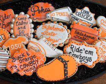 OSU Cookies, Go Pokes tailgating ideas oklahoma state university cheerleading cookies, football cookies, OSU cowboy cookies, college cookies