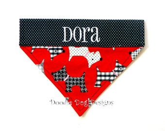 "Personalized Dog Bandana/ Over the Collar Dog Bandana/ Pet Bandana/ ""Red Scotties"""