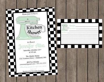 Bridal Kitchen Shower | Wedding SHower | Mixer | Bridal Tea | Recipe Card Included |
