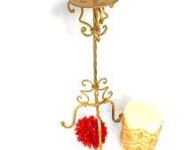 "Reduced, 18"", Gold Candle Holder, Iron Candle Holder, Decorative Candle Holder,Vintage Candle Holder,Distressed Gold Leaf Candle Holder"