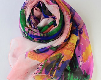 Multi Color Floral Silk Scarf - Premium Mulberry Silk Scarf - Large Silk Chiffon Scarf with Colorful Abstract Floral Print - AS2015-35