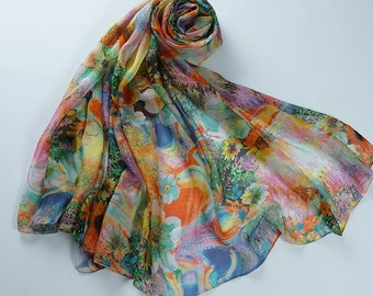 Floral Printed Silk Chiffon Scarf - Oil Painted Silk Scarf with Floral Print - AS2015-40