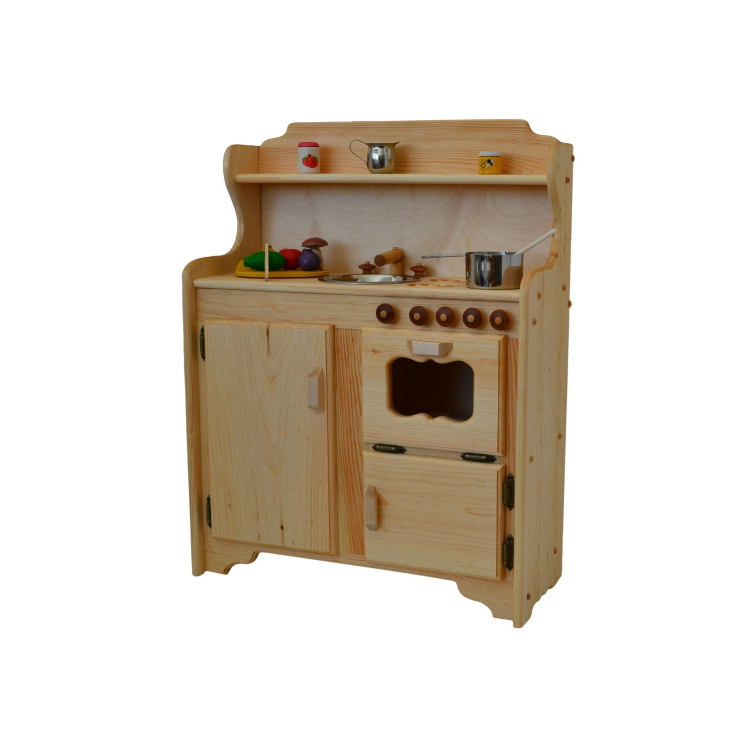 Waldorf play stove wooden toy kitchen