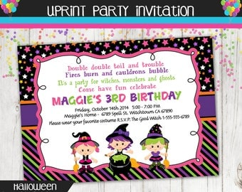 Witches - Halloween - Birthday - Party - Invitation - Printable