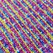 """Bright neon yellow dark pink peacock blue purple white black rag rug 39"""" x 26"""" hand woven from upcycled fabric throw rug fringes #75"""
