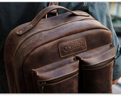 Large Brown Leather Backpack Men / Waxed Leather / Laptop backpack for Men  / Work Backpack / Travel / School Backpack/ Bee Waxed