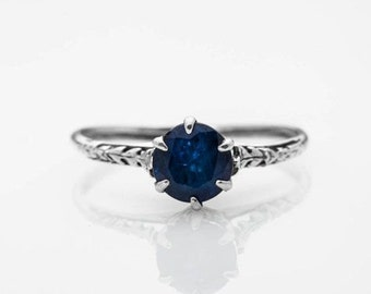 Valentines Day Gift For Her Vintage Blue Sapphire Engagement Ring Size 6 Sterling Silver Wedding Band Anniversary Ring