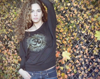 Ladies - OM - The Divine Sound - Gold on Black Long Sleeve Spiritual Silkscreened Tee