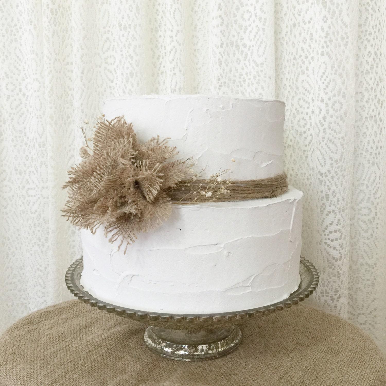 Burlap Cake Topper Idea Burlap Poof Flower by