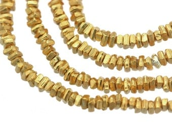 Gold Heishi Bead - Karen Hill Tribe Plain Heishi Bead, 1.5 mm - 24k Gold vermeil color / Gold plated / Gold coated