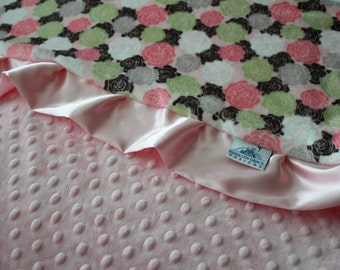 Cuddle Romance Rose Bloom in Blush with Baby Pink Minky Dot and Pink Satin, Baby Shower, Newborn, Mint, Gray