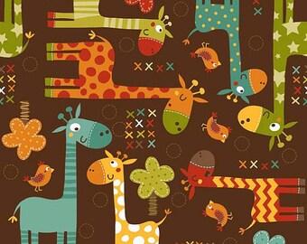 Giraffe Crossing Main Brown ~ Riley Blake ~ By the yard