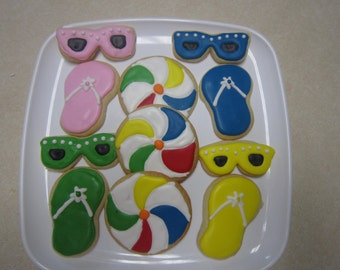 12 At the Beach Decorated Cookies