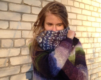 Fair Isle scarf Fair Isle Mohair scarf Fair Isle neckwarmer Knitted scarf Green scarf Accessories Made to order