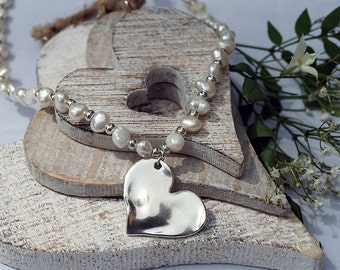 Natural Freshwater Pearl & Heart Pendant Necklace