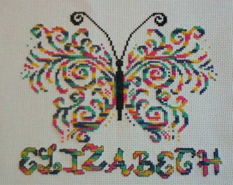 Cross Stitch Butterfly Kit Personalised Multi Coloured Thread Stunning!