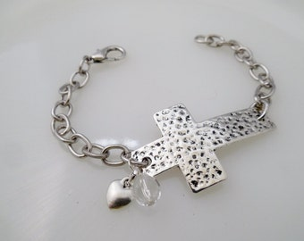 Cross Charm Bracelet Sideways Cross Charm