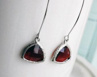 50% OFF Earrings, modern red triangle dangle earrings