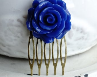 50% OFF SALE Hair Comb, Large Navy Rose Flower hair comb 1