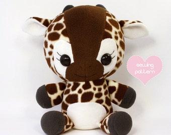 "PDF Plush sewing pattern - Giraffe plushie stuffed animal cute huggable 16"""