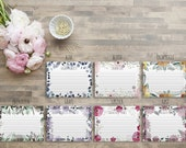 Campbell - Personalized Recipe Cards - Floral Recipe Cards - Monogram Recipe Cards - Kitchen Shower Gift - Teacher Gift - Kitchen Gift