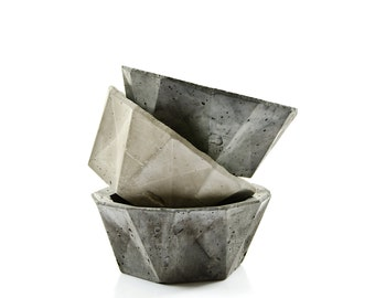 Geometric Concrete Bowl, minimalist concrete decor, scandinavian modern home, cement planter,concrete candel holder