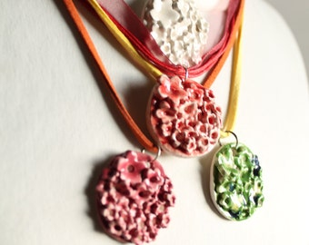 Colorful ceramic pendant necklaces