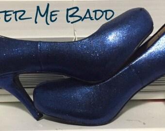 NAVY BLUE glitter high heels