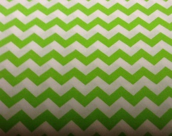 Lime green Chevron Fabric by the yard