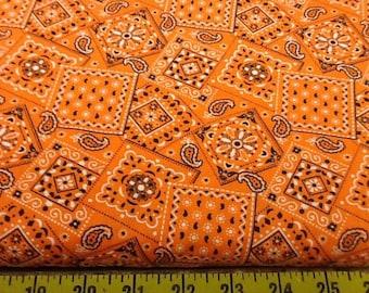 Orange Blazin Bandana Fabric by the yard
