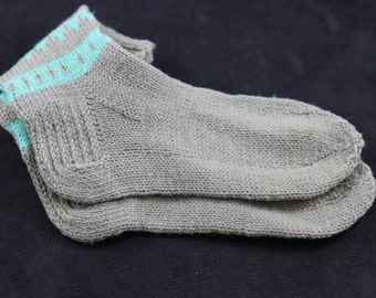 Knitted unisex wool socks , grey and light teal color ready to ship